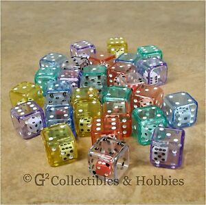 NEW-Set-of-30-Double-Six-Sided-Dice-6-Colors-D6-Game-RPG-Math-19mm-Koplow