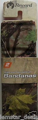 NEW Reward Bandana Head Wrap 2 Piece Set Camouflage & Black Paisley Print