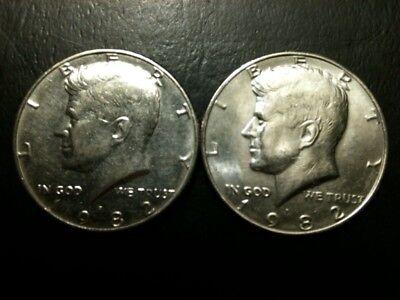 1977 P/&D Kennedy Half Dollar Set AU//BU Clad no Silver 50 Cent About UNC MS Mint