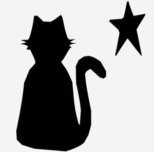 Stencil Sitting Cat with Star Primitive Halloween Cat | eBay