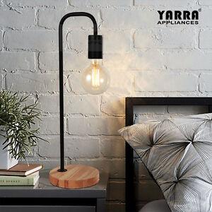 Modern Table lamp Desk Light Timber Base Bedside Bedroom White Black Copper