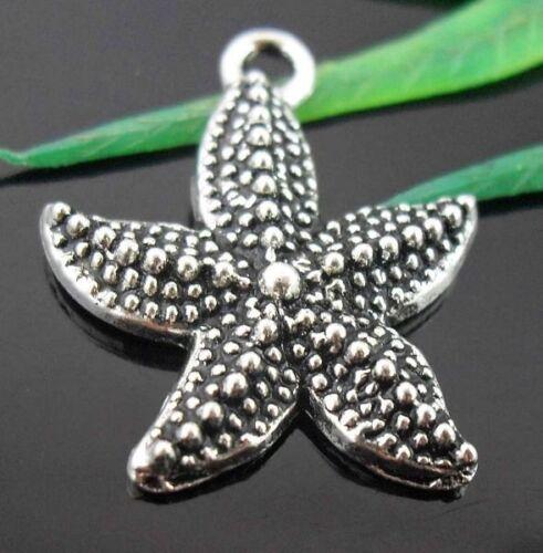 Wholesale 18//40Pcs Tibetan Silver Starfish Charms  23x19mm Lead-free