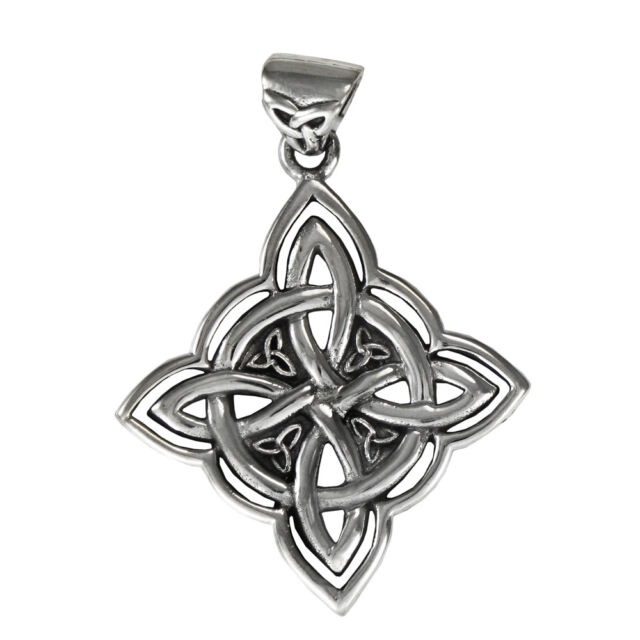 Elaborate Sterling Silver Witches Quaternary Celtic Knot Wiccan
