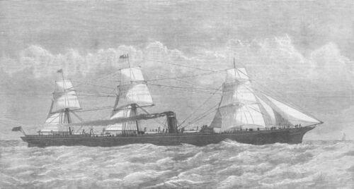 Inman Atlantic Ship Berlin antique print GERMANY 1875