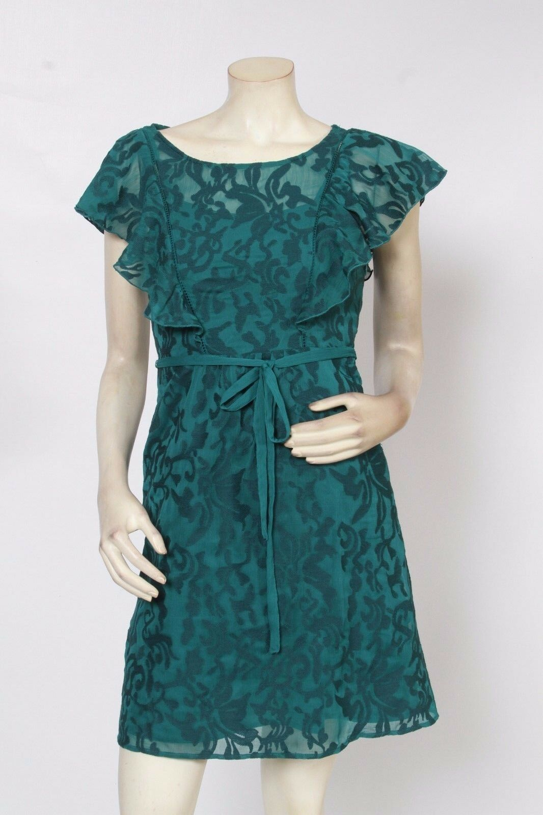 MOULINETTE SOEURS Anthropologie FLUTTERED SCROLLWORK Green Dress