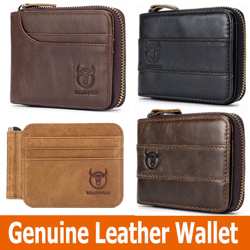 BULLCAPTAIN Genuine Men Leather Wallet RFID Blocking Zipper Wallets for