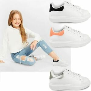 Kids Girls White Chunky Thick Sole