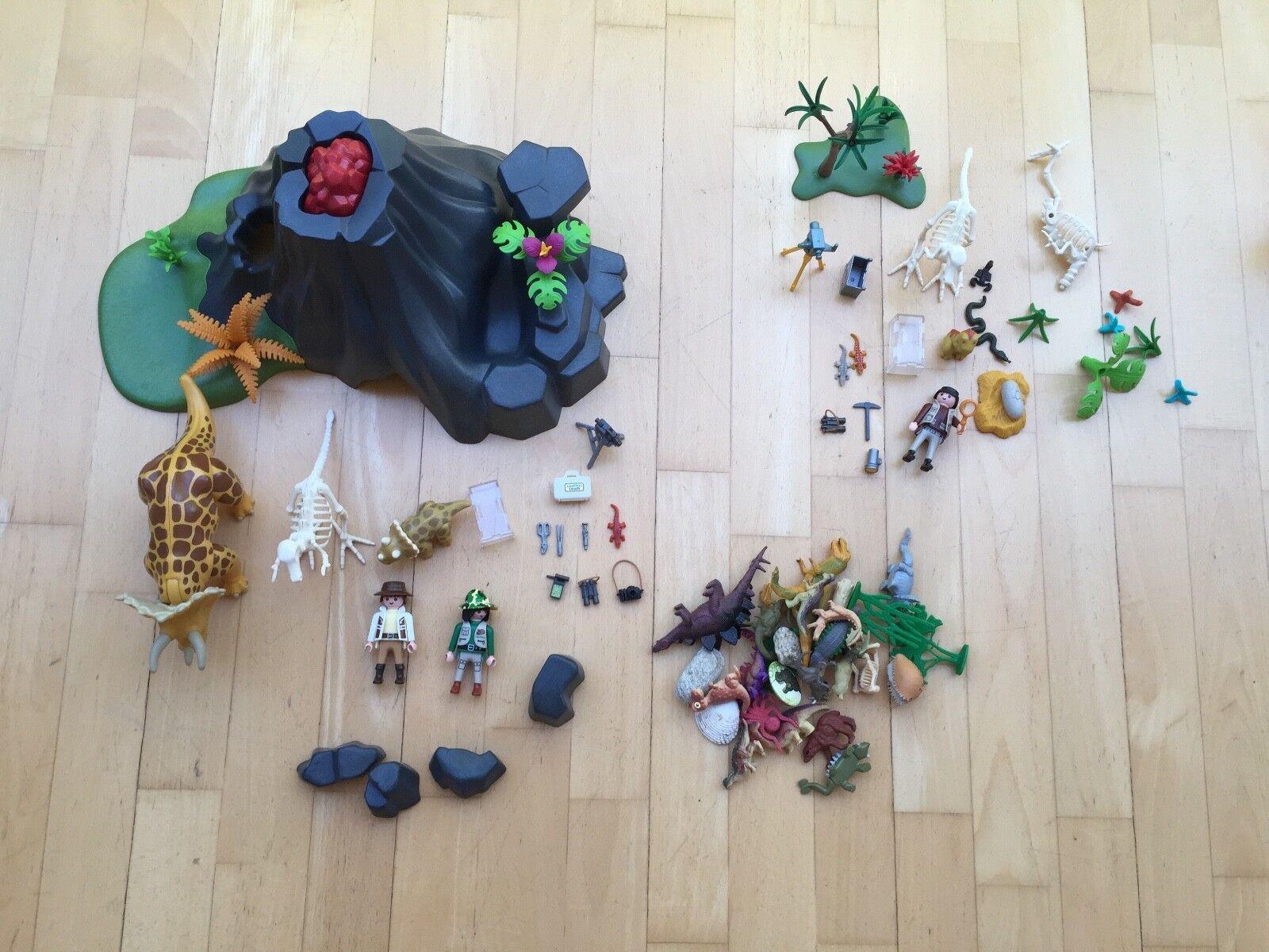 Playmobil 4170   Triceratops mit Baby und Vulkan   4162 als Bonus