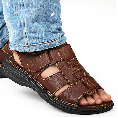 Men's Roman Hollow Out Flat Sandals Summer Casual Beach Shoes Flats Walking New