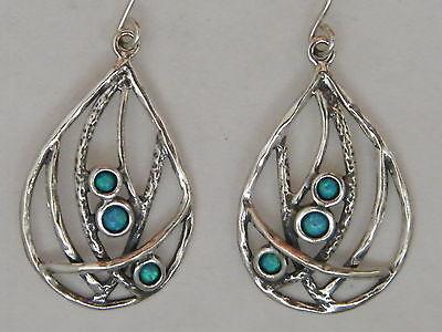 E02026OP Vintage Ladies Design Handcraft Blue Opal Sterling Silver 925 Earrings