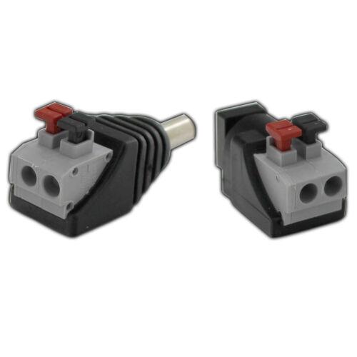 1x Stecker /& 1x Buchse Adapter Kupplung Set 5,5 x 2,1mm mit Schnellverschluss