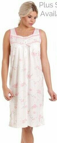 Ladies Soft feel Floral Cotton Blend Night Dress Sleeveless Nightwear Size 10-24