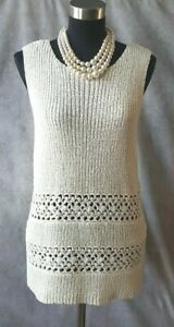 e097b825461 Dillard s Preston   York Knit Top Sz L Off White Dress Casual Shell ...