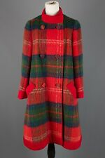 Vtg 60s Lilli Ann Plaid Mohair Wool Double-Breasted Swing Coat 1960s #1202