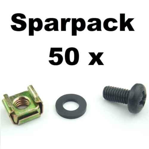 50 x Rackschraube M6 x 12 + Käfigmutter für Stahl Rackschiene + Unterlegscheibe