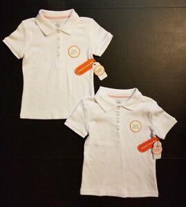 b6f218f97 Girls Wonder Nation Uniform White Short Sleeve Polo Shirt 2 PACK XS ...
