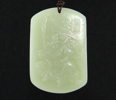 China handcarved 100/% natural Nephrite hetian jade GUAN GONG pendant+Necklace
