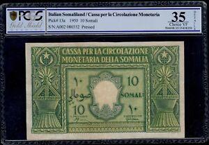 ITALIAN-SOMALILAND-10-SOMALI-1950-PICK-13a-PCGS-35-CHOICE-VERY-FINE