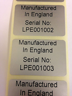 Rolls of Printed Personalised SILVER Serial Number / Barcode Labels  38mm x 25mm