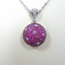 18k White Gold Pink Sapphire with DIAMONDS Pendant 14k White Gold Chain 18''