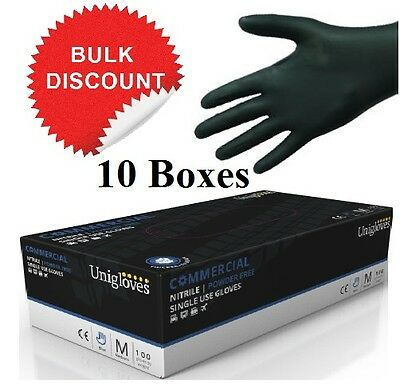Unigloves Commercial Black Nitrile Strong Powder Free Gloves Heavy Duty Mechanic