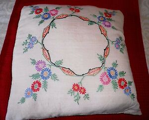 1940's HAND EMBROIDERED CUSHION - BEIGE - 16""