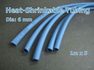 "#GTN 5M Dia 6mm Blue 1//4/"" HEAT 2:1 SHRINK TUBING POLYOLEFIN 16 FT"