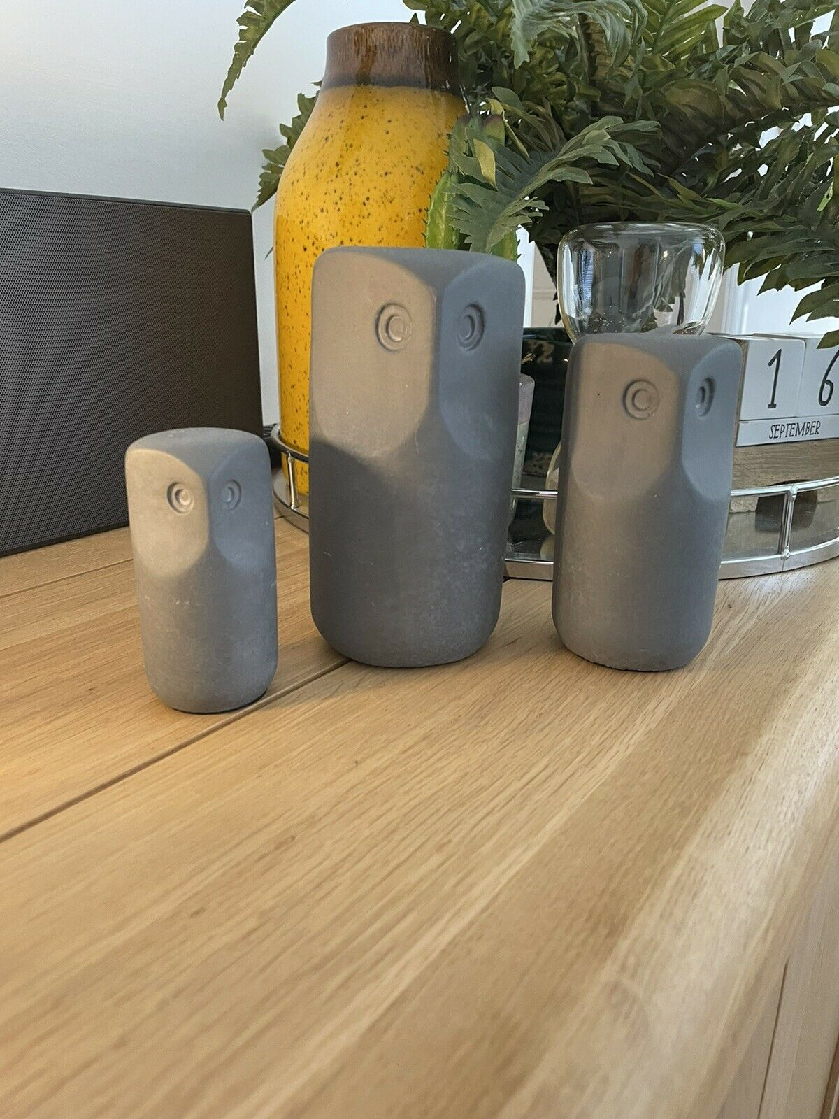 Ikea tonad Decoración Conjunto de 3, Búho/Gris * Nuevo * 304.598.17 Decoración de Hormigón