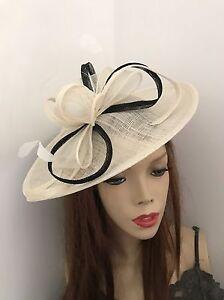 Image is loading Cream-Ivory-Black-Hatinator-Wedding-Fascinator-Saucer-Hat- 7ddf2d1441d