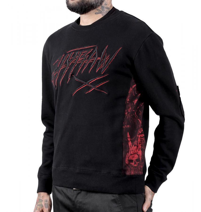 Sudadera Sweater chico bordado BLOOD frontal estampado coderas ataud BLOOD bordado Hyraw 76bc82