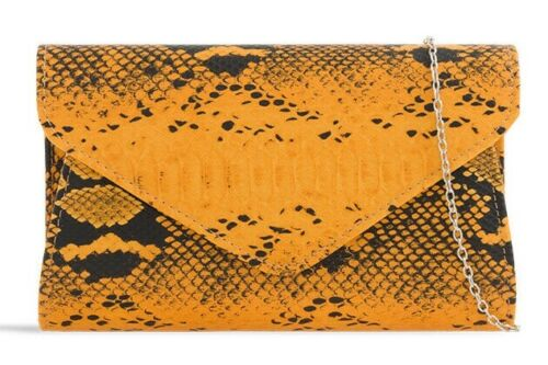 New Women's Snake Print Pattern Gold Tone Shoulder Chain Strap Clutch Bag