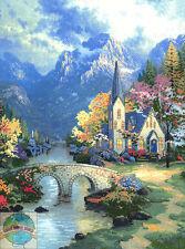 Cross Stitch Kit ~ Candamar Thomas Kinkade Mountain Chapel #51113