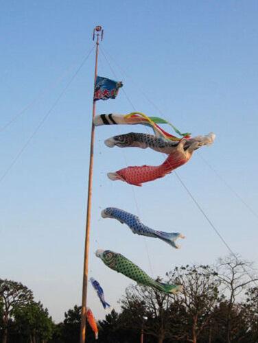 Koi-Nobori Windsack Windturbine Windspiel Hängen Deko für Garten Grün 100cm