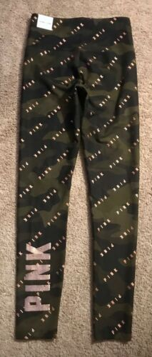 NWT VICTORIA/'S SECRET PINK GREEN CAMOUFLAGE CAMO ROSE GOLD BLING COTTON LEGGINGS
