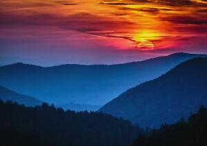 A1-Sunset-Smoky-Mountains-Art-Poster-Print-60-x-90cm-180gsm-Nature-Gift-15726