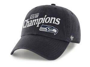 Seattle Seahawks  47 Brand NFL Super Bowl XLVIII Champs Football Cap ... 8755fd835