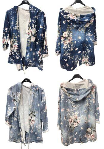 Womens Italian New Floral 2 Pocket Jacket Hoodie Hooded Sweatshirt Top