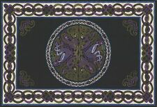Handmade 100% Cotton Celtic Wheel of Life Tapestry Bedspread Black Purple Twin