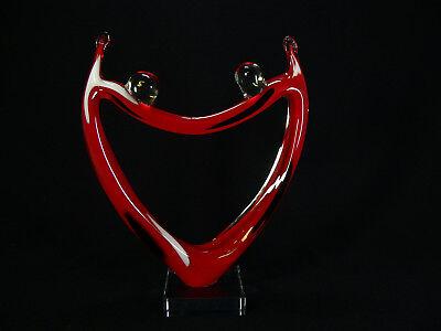 Sehr Schöne Glaskultur Mit Farbigen Einschmelzungen Handarbeit 26,4 Cm