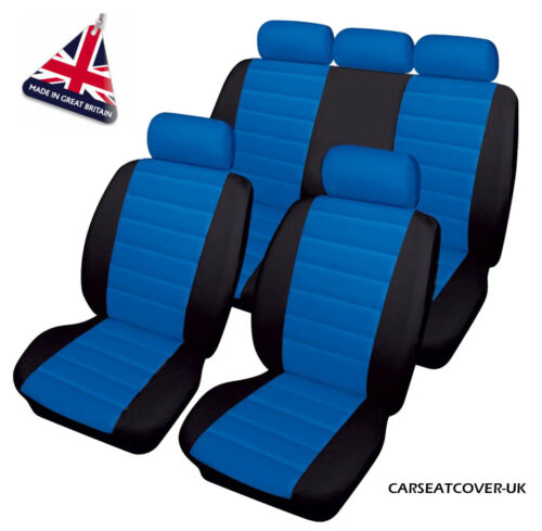 Luxury BLUE//BLACK Leather Look Car Seat Covers Audi A6 Full Set