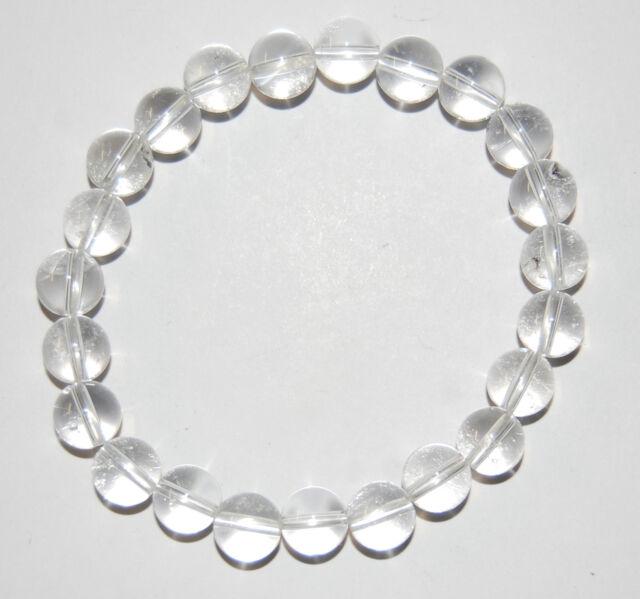 Edelstein-Armband, Kugeln, Bergkristall, A-Qualität, Ø 8 mm