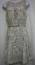ELIE SAAB Ivory SEQUINED COCKTAIL DRESS Sleeve Less SIZE 34 US 2 NWT$8990