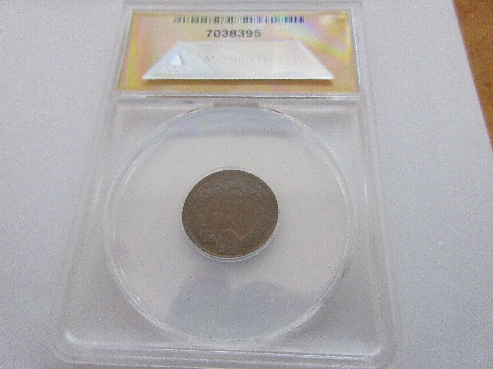 "1886, Indian Head Cent , Type 2 , Feathered to ""CA"", MS"
