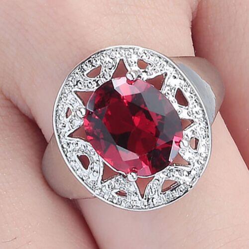 Vestido de Fiesta Excelente Para mujeres Damas Rodio Plateado Oval rubí rojo anillo de piedras preciosas de M 1//2 o