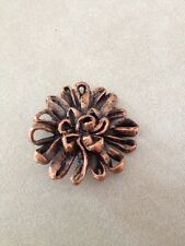 Vintage Mid Century Copper Floral Ribbon Shape Metal Shank Button 3.5cm