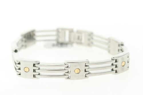 Details about  /SHR /& Simmons Stainless Steel /& 14K Yellow Gold Screw Detail 3 Row Link Bracelet