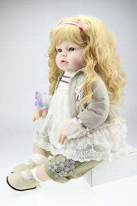 reborn baby doll toddler 28 soft silicone vinyl curl long