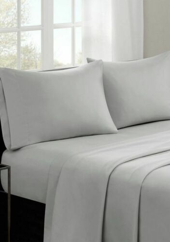 Cotton Bed Sheets TWIN Size GRAY 3 Pcs Set by Madison Park MP20-1810