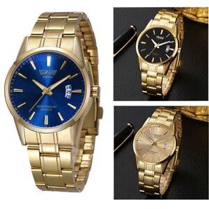 Luxury-Men-039-s-Stainless-Steel-Watch-Casual-Analog-Quartz-Gold-Blue-Wrist-Watches