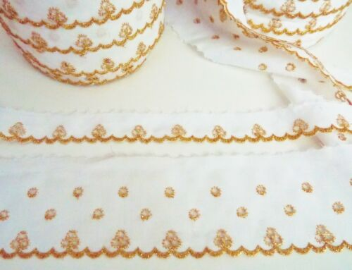10yd WHITE GOLD LUREX GLITTER AUSTRIAN BRODERIE ANGLAISE LACE TRIM 6cm or 25mm